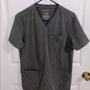 Small men's grey v-neck scrub top, like new.